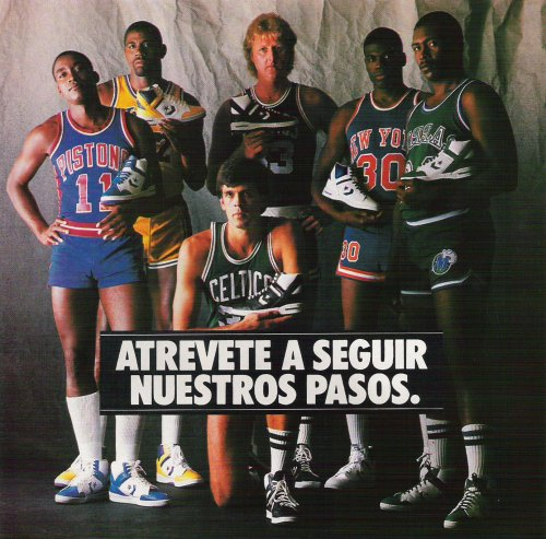 Anuncio de Converse Weapon en el que aparecían Isiah Thomas, Magic Johnson, Kevin McHale, Larry Bird, Bernard King y Mark Aguirre.